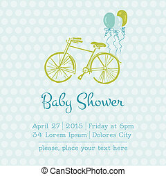 Baby Boy Shower or Arrival Card with place for your text in vector