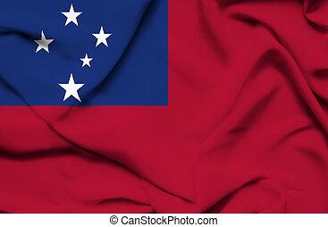ondeggiare, bandiera,  Samoa