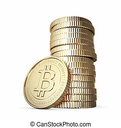 Golden stack of Bitcoin - Golden Bitcoin cryptography...