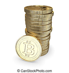 Golden Bitcoin cryptography digital currency coins -...