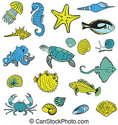 Sea life Animals - Hand drawn collection in vector