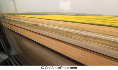 Eurostar Sunny French countryside - Travelling on a Eurostar...