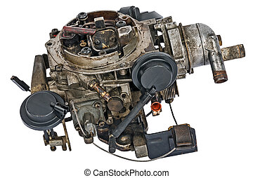 Used carburetor from the fuel supply system of gasoline...