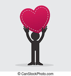 Figure Holding Heart - Figure holding large heart up in the...