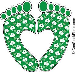 Green Footprint Heart