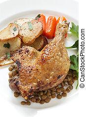 duck confit, french bistro dish - confit de canard