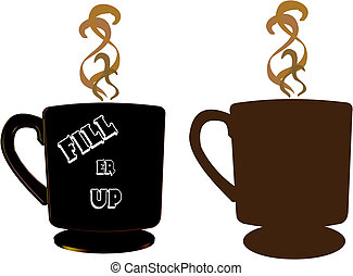 fill er up - coffee cups in two styles including 3d...
