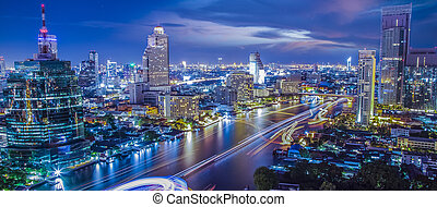 Bangkok city night view - Bangkok city in night urban view...