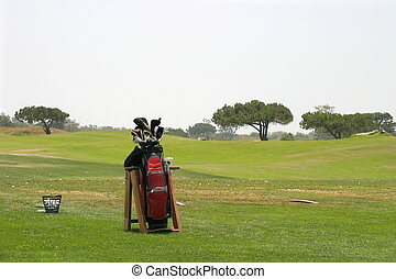 Golf Bag with a basket of golfballs and a driving range in...