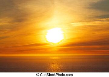 Midnight sun - Bright midnight sun over the ocean on Lofoten...