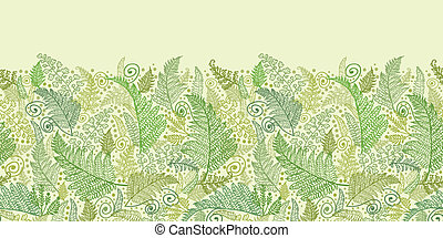 Green Fern Leaves Horizontal Seamless Pattern Border -...