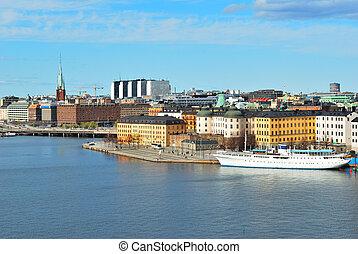 Stockholm, Riddarholmen - Stockholm, Sweden. View of the...
