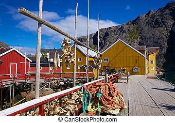 Fishing industry in Norway - Traditional old fishing village...