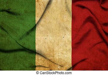 onduler, drapeau, Italie