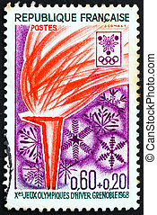 Postage stamp France 1968 Olympic Flame and Snowflakes -...
