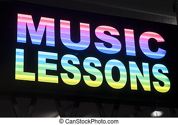 music lessons sign in a store window