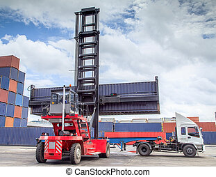 forklift handling the container box load to big truck.