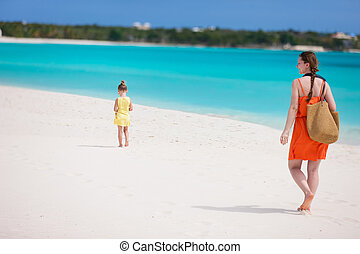 Mother and daughter at beach - Mother and daughter walking...