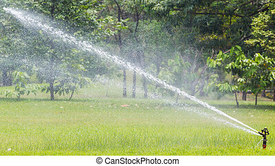 Sprinkle - High pressure water sprinkle working in public...