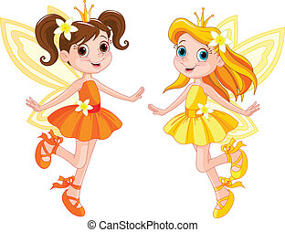 Two cute fairies - Illustration of two cute fairies in fly...