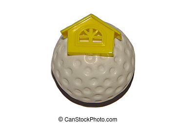 Home on Golf Ball - Golf ball having symbl of home. Play at...