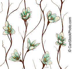 Vintage Flowers Seamless Pattern Background - Decorative...