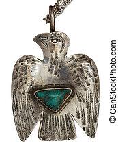 Silver Thunderbird Pendant - antique silver thunderbird...