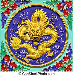 dragão, Ouro, estátua, isolado