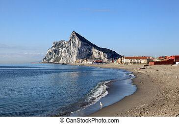 Rock of Gibraltar from the beach of La Linea de la...