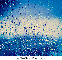 Drops On Glass After Rain - Drops Of Rain On Blue Glass...