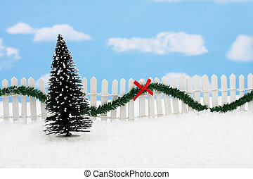 Merry Christmas - Evergreen tree and white picket fence with...