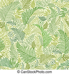 Green Fern Leaves Seamless Pattern Background - Vector Line...
