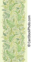 Green Fern Leaves Vertical Seamless Pattern Border - Vector...