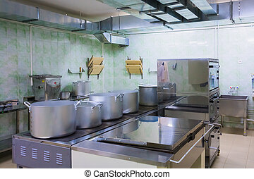 Professional Kitchen - Typical Kitchen Of A Restaurant Shot...