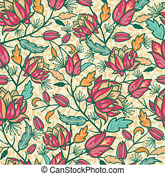 Colorful flowers and leaves seamless pattern background -...