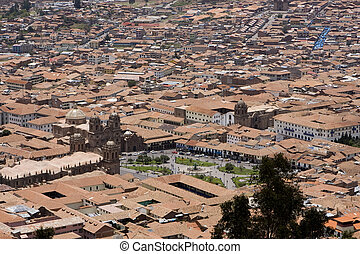 Cuzco Peru - City of Cuzco Peru with Plaza de Armsa in the...