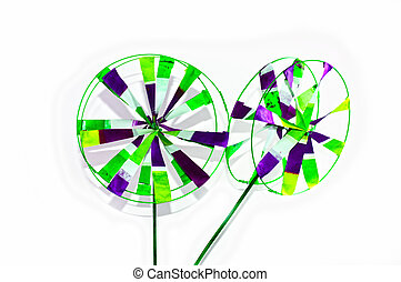 Green Blue Pinwheel - Green, blue and white colors in...