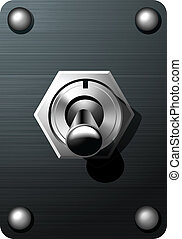 Realistic Toggle switch tumbler button vector