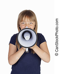 Funny girl with a megaphone