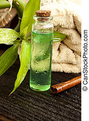 Tea Tree Essence - bottle of tea tree essential oil,massage...