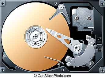 Computer HDD Hard Disk - Detailed vector illustration of...