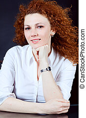 attractive young redhead woman portrait