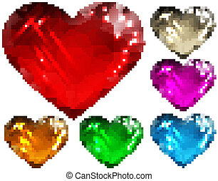 Set of glass hearts polygon