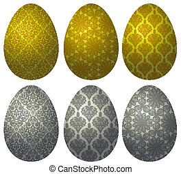 Set of gold and silver Easter eggs 2