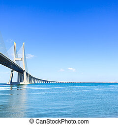 Vasco da Gama bridge on Tagus River Lisbon, Portugal, Europe...
