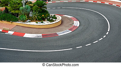 Old Station hairpin bend motor race asphalt on Monaco Grand...
