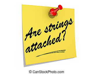 Are Strings Attached White Background - A note pinned to a...