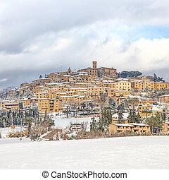 Tuscany, Casale Marittimo village covered by snow in winter....