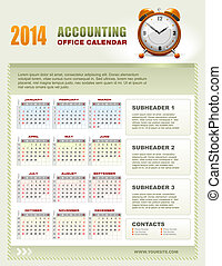 2014 Accounting Calendar with week numbers vector - 2014...