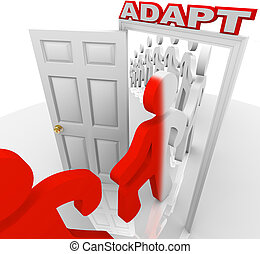 Adapt People March Through Doorway Adapting to Change - Many...